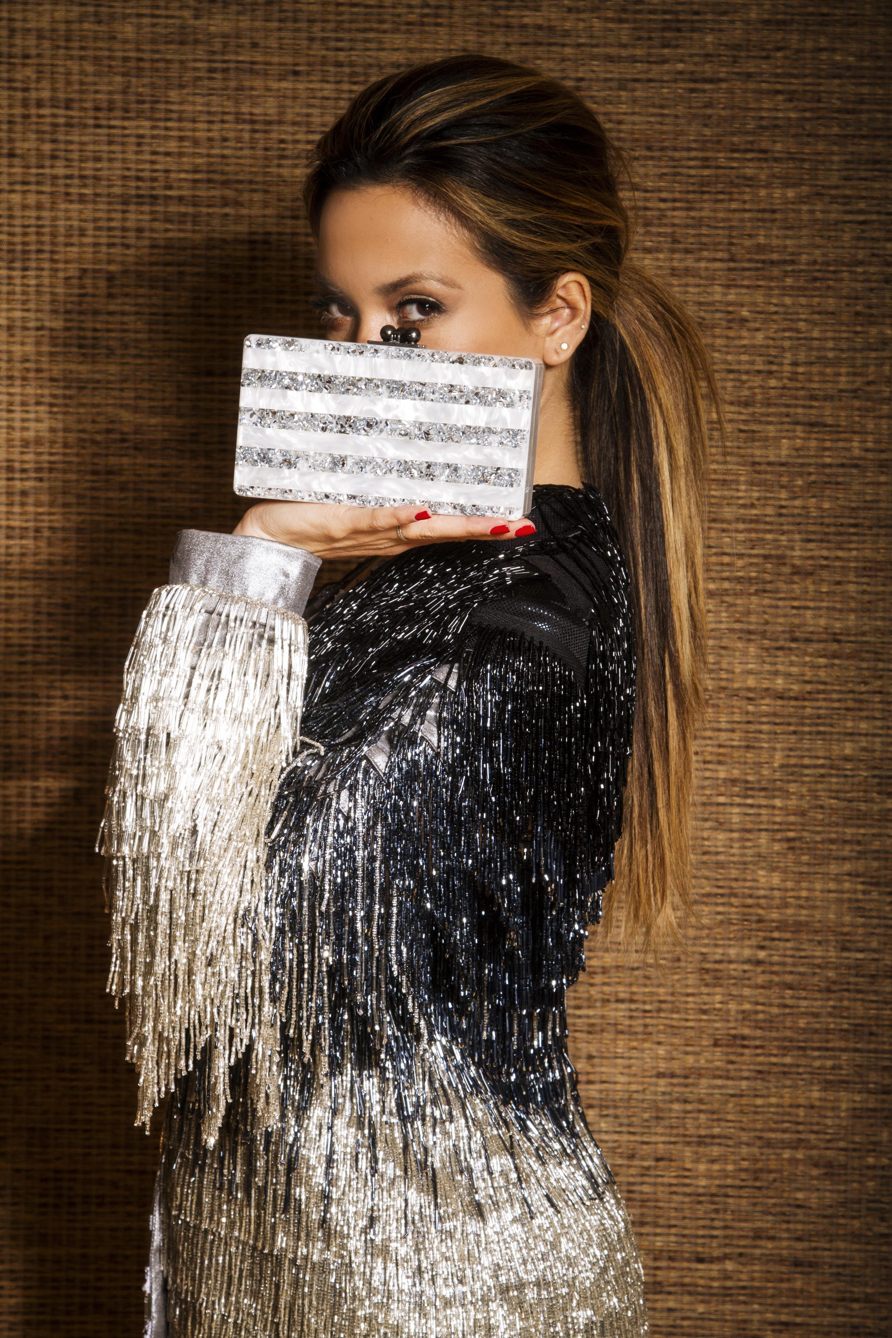 JessiMalay - MyWhiteT - EdieParker - clutch - fringecoat - fringejacket - sequins - shimmer - beadedcoat - ponytail - fashion - fashionblogger - style - ootd - NYElooks - NYE - NYE2013