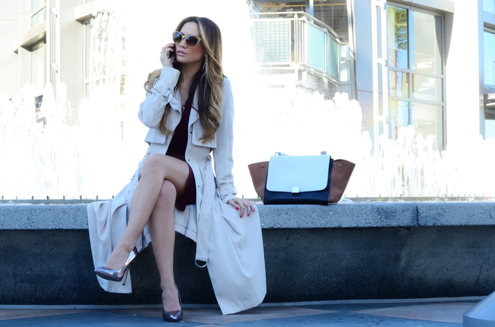 JessiMalay - MadeForLa - HM - Dita - Ditaeyewear - sunnies - dress - wrap dress - trench coat - metallic heels - Steve Madden - Celine -bag - purse - shark tooth necklace - Tiffany and co - work attire