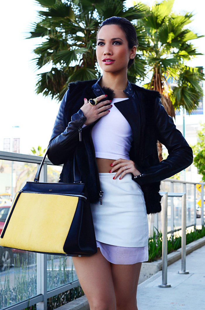 JessiMalay - AmericanApparel crop top - TopShop leather mini - BCBG fur jacket - Celine bag - Celine purse - Celine - Rachel Roy heels - animal print - slicked hair - bun - Swagg Jewels ring - ring