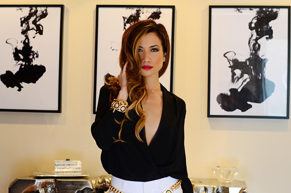 JessiMalay - SwaggJewels - TopShop pants - MywhiteT blouse - Rachel Zoe bangle - Rachel Zoe bracelet - Giuseppe Zanotti heels - Giuseppe Zanotti - animal print heels