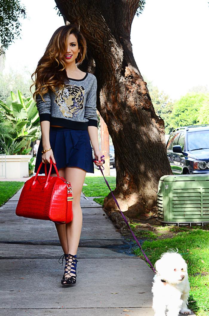 JessiMalay - dogs - Maltese - Express - croptop - miniskirt - mini - heels - high heels - booties -laceupbooties - GivenchyAntigonabag - Givenchy - Antigona - bag - purse - RebeccaMinkoff - ring - rings - TIffanyandco - MadeForLa - KRMA - CaiaJewels - RachelZoe - bangle - bracelet - accessories - hair - makeup -hairandmakeup - mua