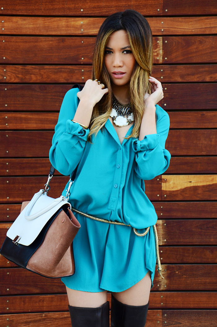 JessiMalay - shirtdress - ReportSignature boots - over the knee boots - chocolate brown boots - leather boots - Celine trapeze bag - Celine - bag - purse - barlll necklaces - necklaces - accessories - jewelry - Free People belt - Free people serpent belt - Rachel Roy earrings