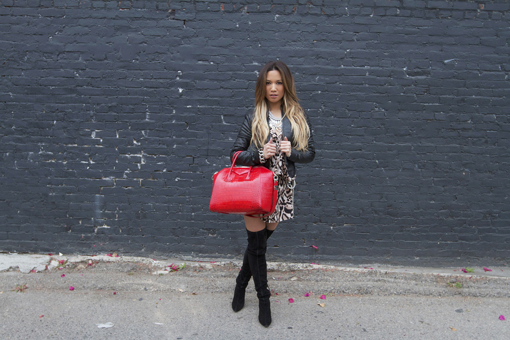 JessiMalay - DVF leopard shirtdress - Diane Von Furstenberg - leopard print - shirtdress - leopard print shirtdress - Alice and olivia boots - alice and olivia over the knee boots - over the knee boots - Givenchy Antigona bag - Givenchy - Antigona - red bag - red purse - croc embossed bag - Free People necklace - Vince Camuto silver chain bracelet - Rachel Roy earrings