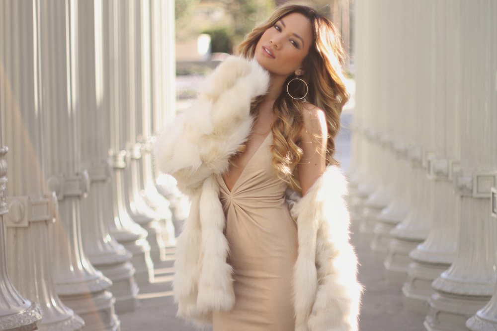 Jessi Malay - dress - Abyss by Abby - Abyss by Abby cocktail dress - faux fur coat - faux fur - mywhitet fur coat - tony bianco lace up heels - tony bianco heels - vivablanca ring - H&M ring - Rachel Zoe knot bracelet