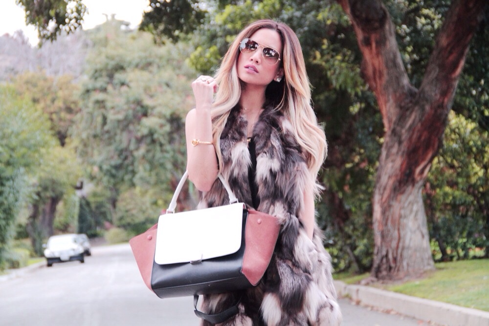 Jessi Malay - Meskita - meskitalifestyle - fur vest - Meskita slip dress - slip dress - rayban - sunnies - kristinperry ear cuff- diamond ear cuff- crystal ear cuff - rings - rings n things - viva glam rings - Rachel Zoe knot bangle - celine trapeze bag - zara booties