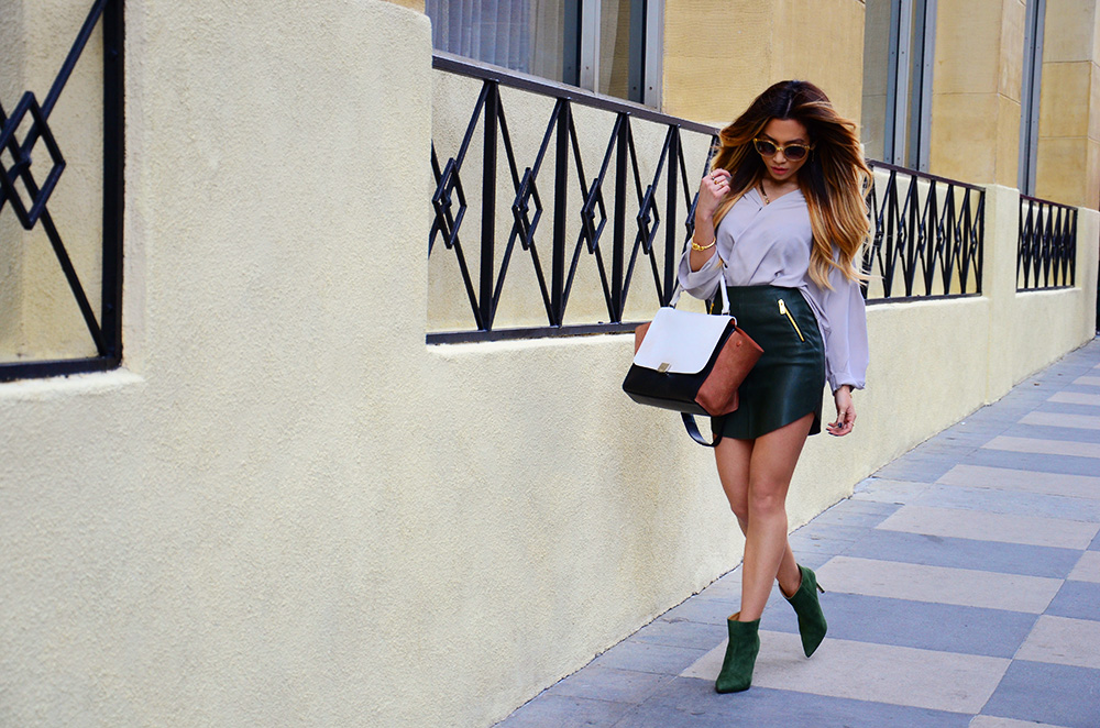 Jessi Malay - Zara khaki skirt with zips - Tony Bianco olive boots - Celine Trapeze bag - Tony Bianco Titan Forest Kid Suede Boots - TopShop Formal Drape Front Blouse - Ditaeyewear -Dita sunglasses