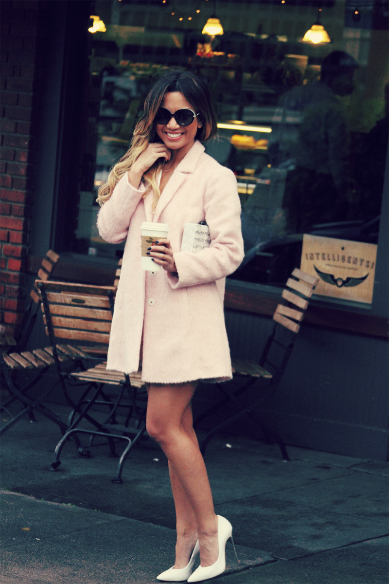 Jessi Malay - Mlle Mademoiselle mirror skirt - mlle mademoiselle - Casadei pumps - Edie Parker clutch - Tiffany and co sunglasses - Tiffany and Co love necklace - Zara blouse - topshop pink cocoon coat