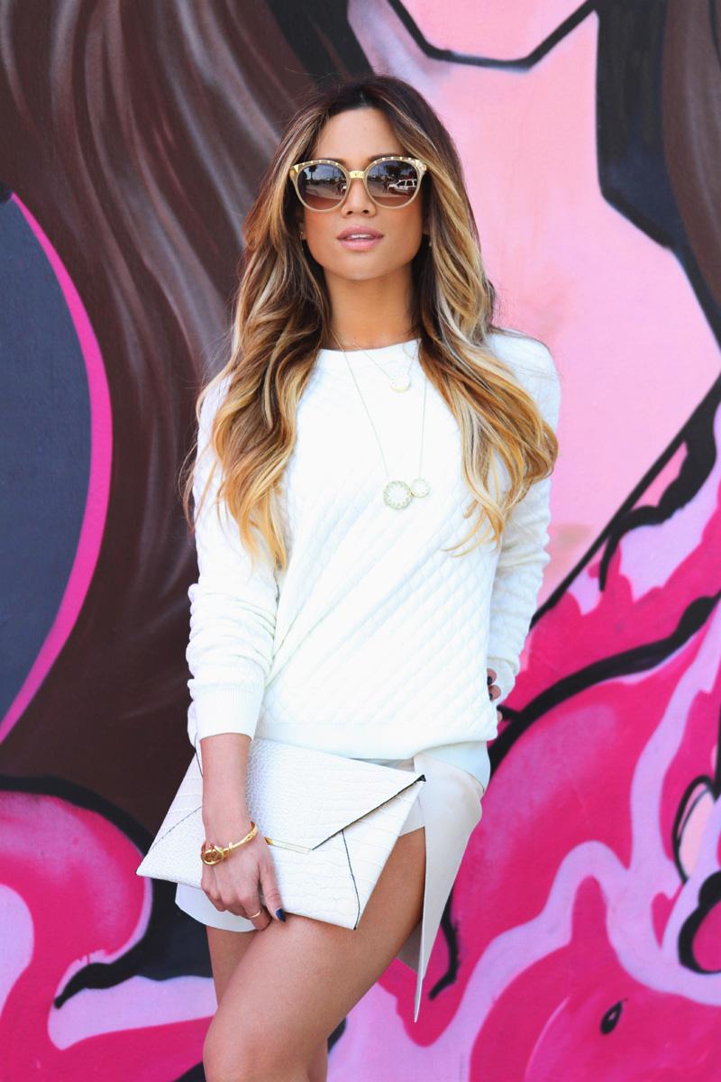 Jessi Malay - Target sweatshirt - Xhiliration sweatshirt - Zara white skirt - Zara high heeled sandals - BCBG clutch - Dita sunglasses - House of Harlow necklace