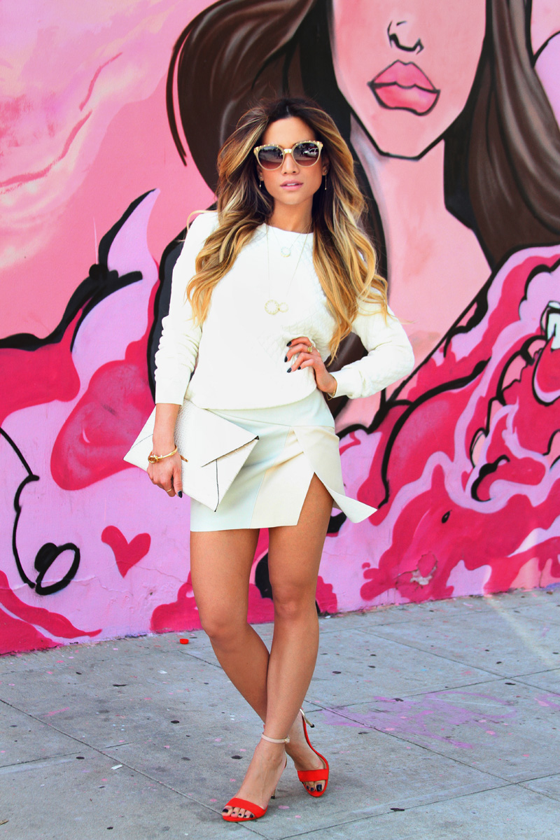 Jessi Malay - Target sweatshirt - Xhiliration sweatshirt - Zara white skirt - Zara high heeled sandals - BCBG clutch - Dita sunglasses - House of Harlow necklace