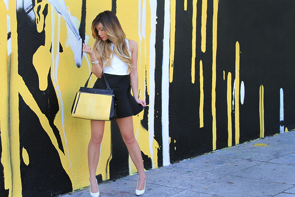 Jessi Malay - TopShop - TopShop black and white dress - Casadei snakeskin white pumps - YSL sunnies - YSL sunglasses - Yves Saint Laurent sunglasses - Celine bag - Celine Edge bag - Yellow Celine Bag - Celine
