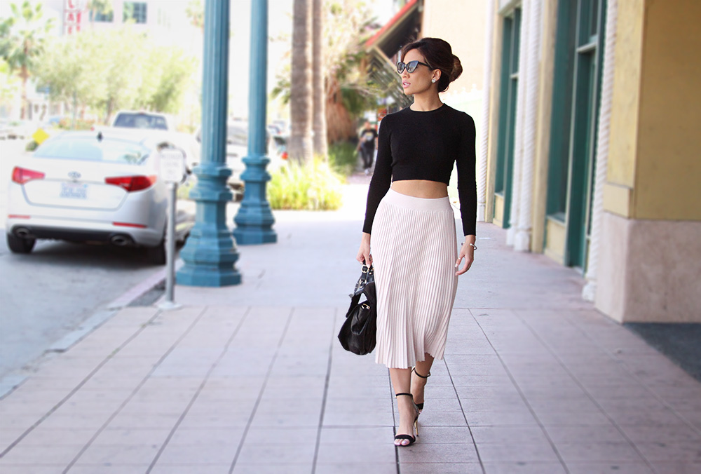 Jessi Malay - American Apparel  black crop - Zara pink skirt - Nasty Gal cat eye sunnies - Zara ankle strap sandals - Treesje bag - Jessica Alba