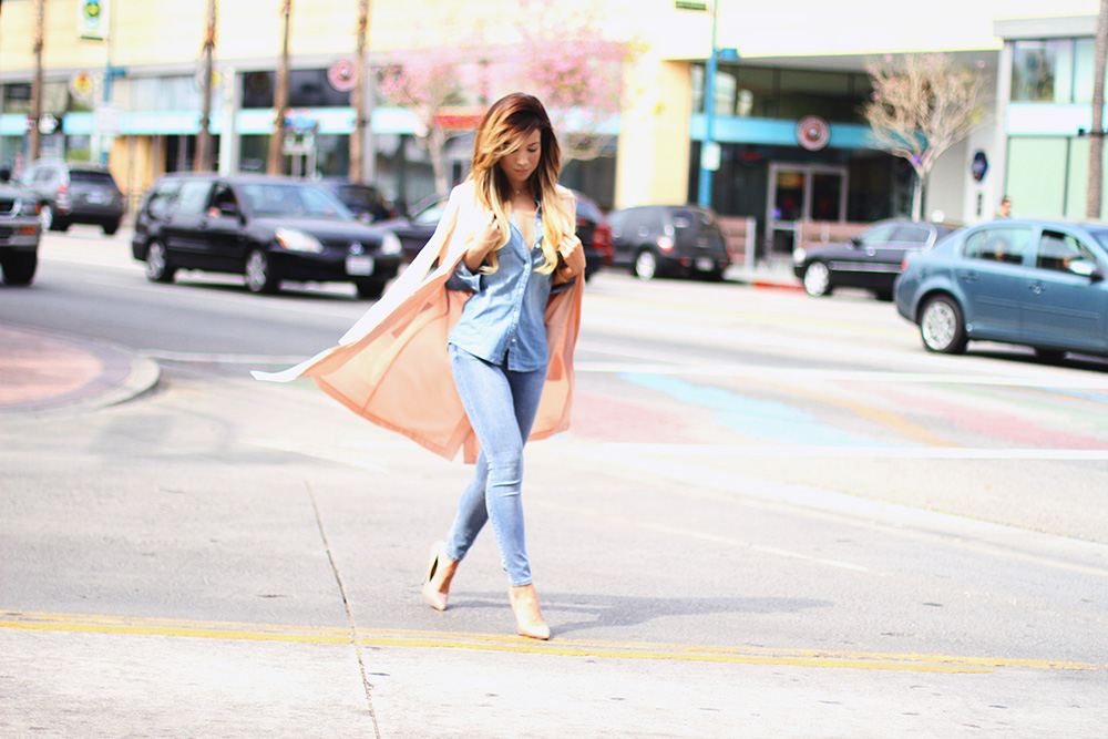 Jessi Malay - J Crew denim shirt - TopShop jeans - SHopping Bare pink panther trench coat - Steve Madden Nude pumps