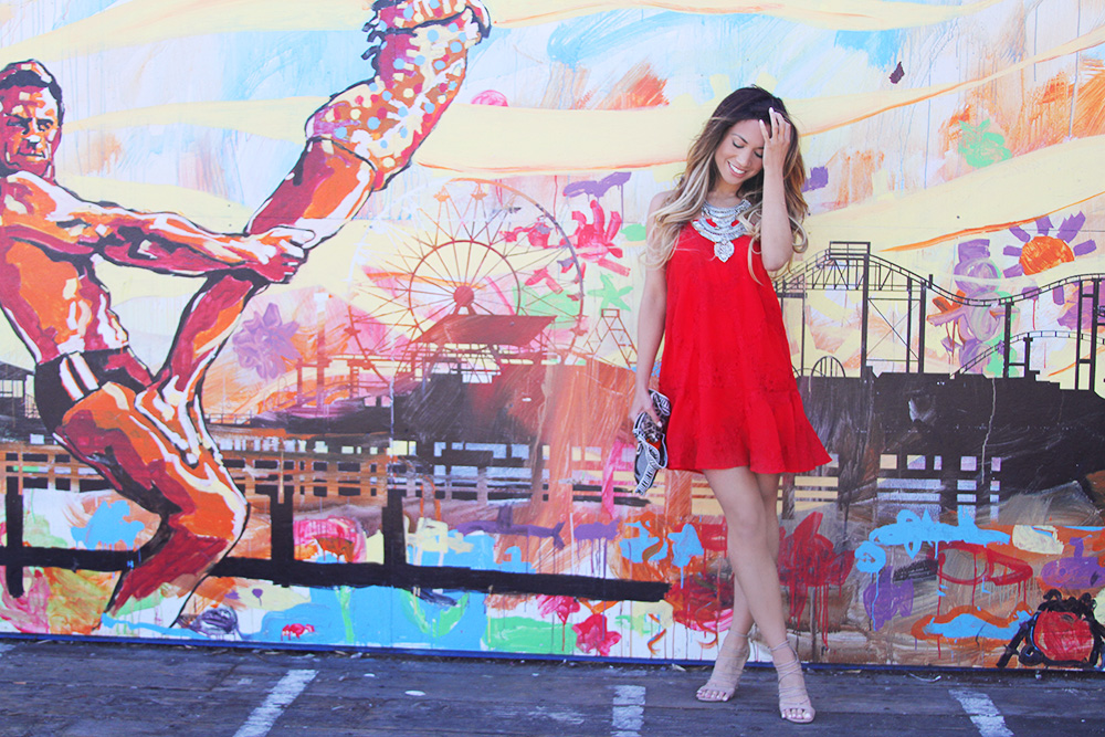 Jessi Malay - Love and Lemons - Love and Lemons Margarita Dress - Tony Bianco nude sandals - Goldbarr Azita Necklace - shopping bare azita necklace - santa monica pier