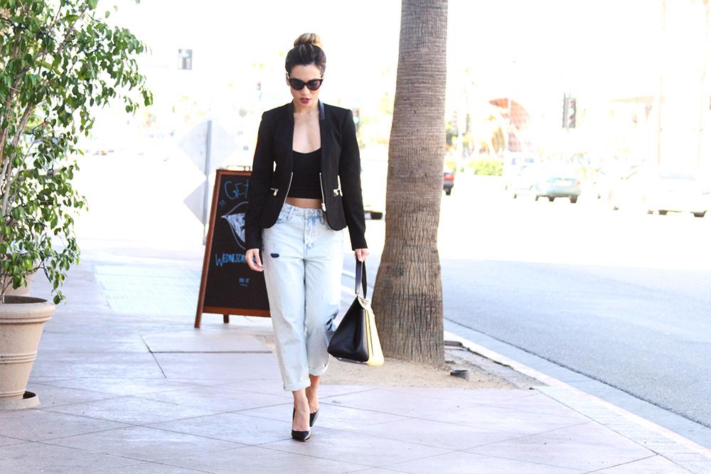 Jessi Malay - Selena Gomez - Selena Gomez boyfriend jeans - topknot - Zara blazer - Brandy Melville tee - Nasty Gal sunnies - Nasty Gal sunglasses - Celine Edge bag - Tony Bianco black pumps