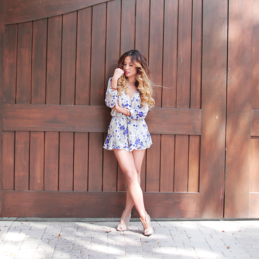 Jessi Malay - Ashanti Brazil - Ashanti BRazil romer - floral romper - Steve Madden booties - Tiffany and Co Love necklace - Tiffany and Co rose gold and diamond bracelet