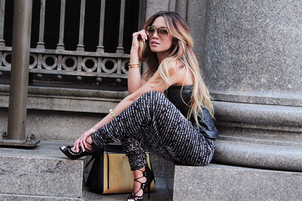 JessiMalay - ShotbyG - BCBG leather tube top - BCBG knit track pants - Giuseppe Zanotti lace up scallop sandals - Anarchy Street Jewelry - VivaBlanca jewelry - House of Harlow necklaces - Ditaeyewear Condor sunglasses - Celine Edge Bag