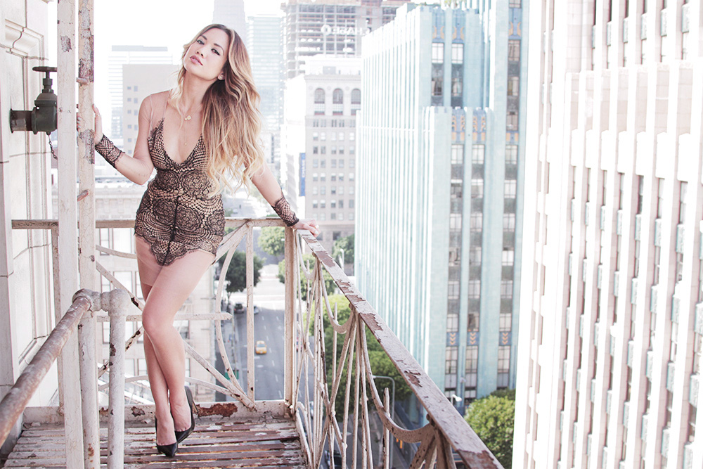 Jessi Malay - For Love and Lemons - Antigua dress - lace - lace dress - Renvi jewelry - Renvi - gold - rose gold - rings - necklaces - architecture - fire escape - downtownLA - Tony Bianco black pumps