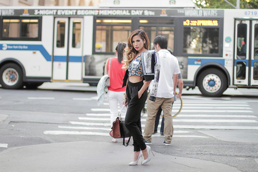 JessiMalay - BCBG Runway Lachlan Jacket - BCBG Runway Kaja Harness Top - Viva Blanca Bracelets - Aqua jogger pants - Casadei Blade Pumps - Celine Trapeze Bag - Chloe and David jewelry