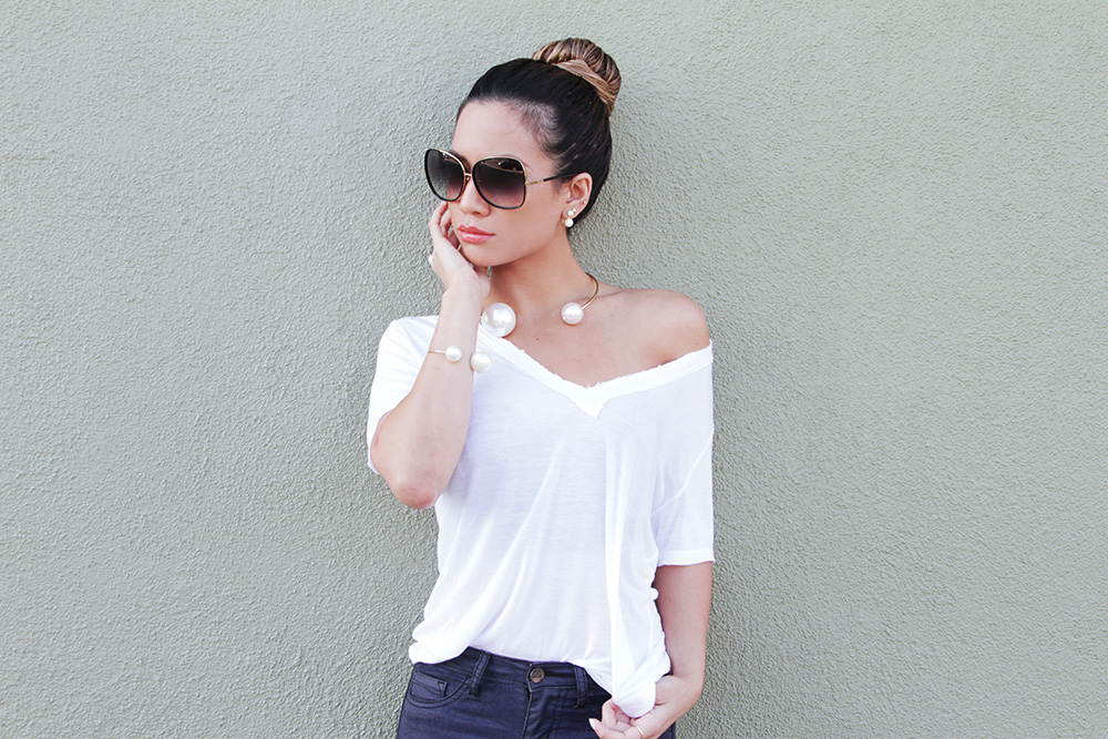 Jessi Malay - THPShop Pearls - Pearls - whitetee - Sea of Pearls tee shirt - Tony Bianco heels - Ditaeyewear Bluebird sunglasses