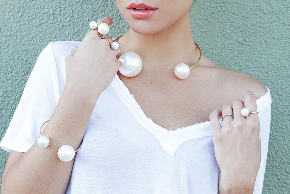 Jessi Malay - THPShop Pearls - Pearls - whitetee - Sea of Pearls tee shirt - Tony Bianco heels - Ditaeyewear Bluebird sunglasses