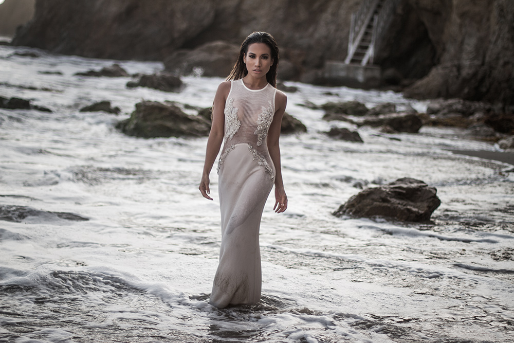 Jessi Malay for mywhiteT Los Angeles based fashion blog wearing Lurelly's Douceur Gown