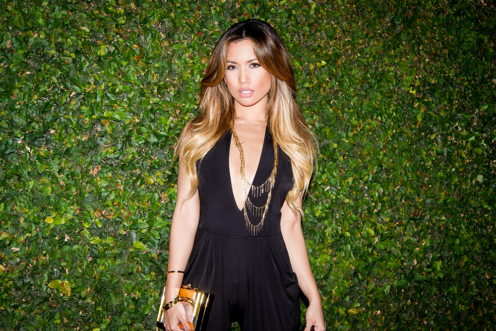 The Fine Hanger Black Playsuit on Jessi Malay for My White T Fashion Blog Photoshoot
