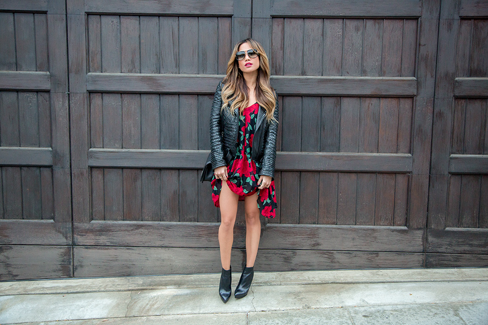 Jessi Malay wearing a Black A.L.C. Blake Studded Leather Jacket for fashion blog My White T