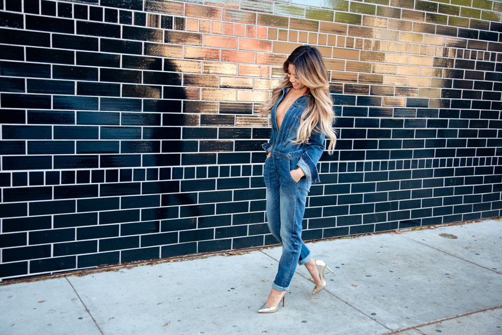 Jessi Malay in Zara Denim Jumpsuit In Hollywood, Los Angeles Fashion Photoshoot