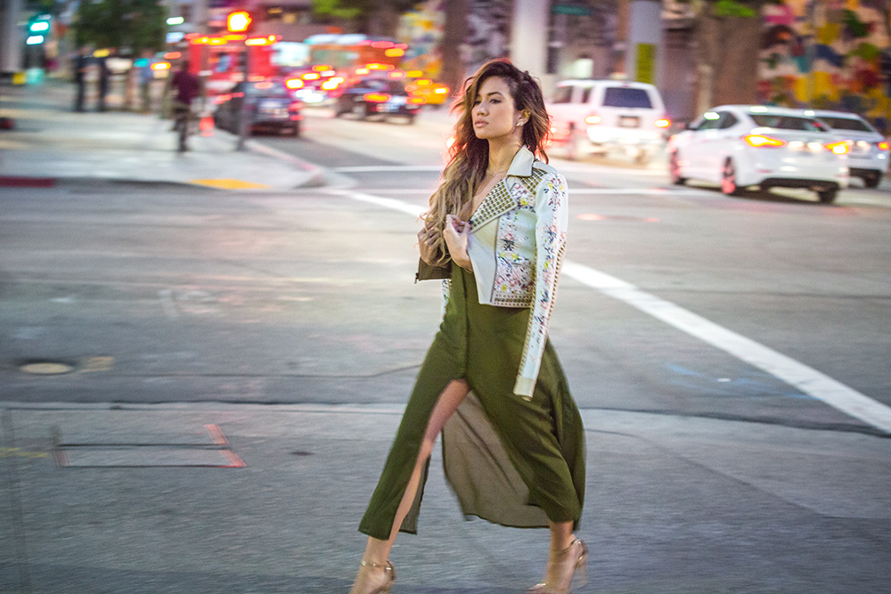Jessi Malay in Downtown Los Angeles for MyWhiteT