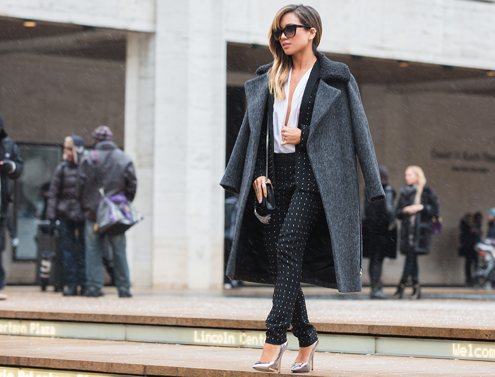 Jessi Malay wearing ALC Studded Suit at New York Fashion Week