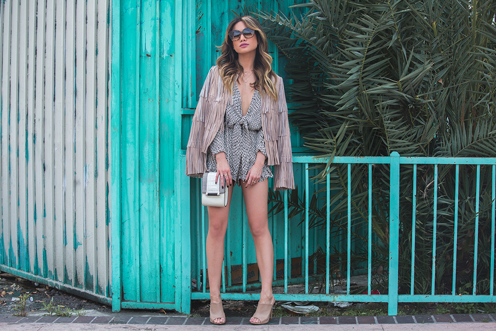 Jessi Malay in Intermix Suede Fringe Jacket