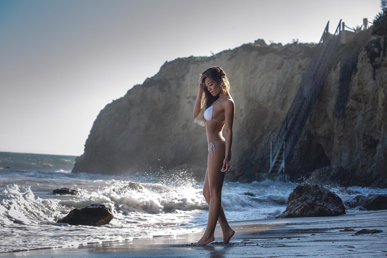 Jessi Malay wearing Samoa Swimwear White Bikini