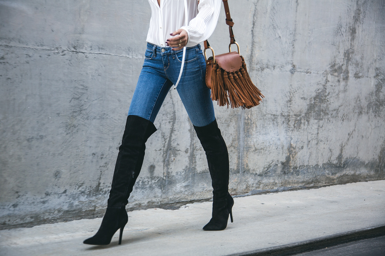Jessi Malay wearing Aldo Seania-U Black Suede Boots
