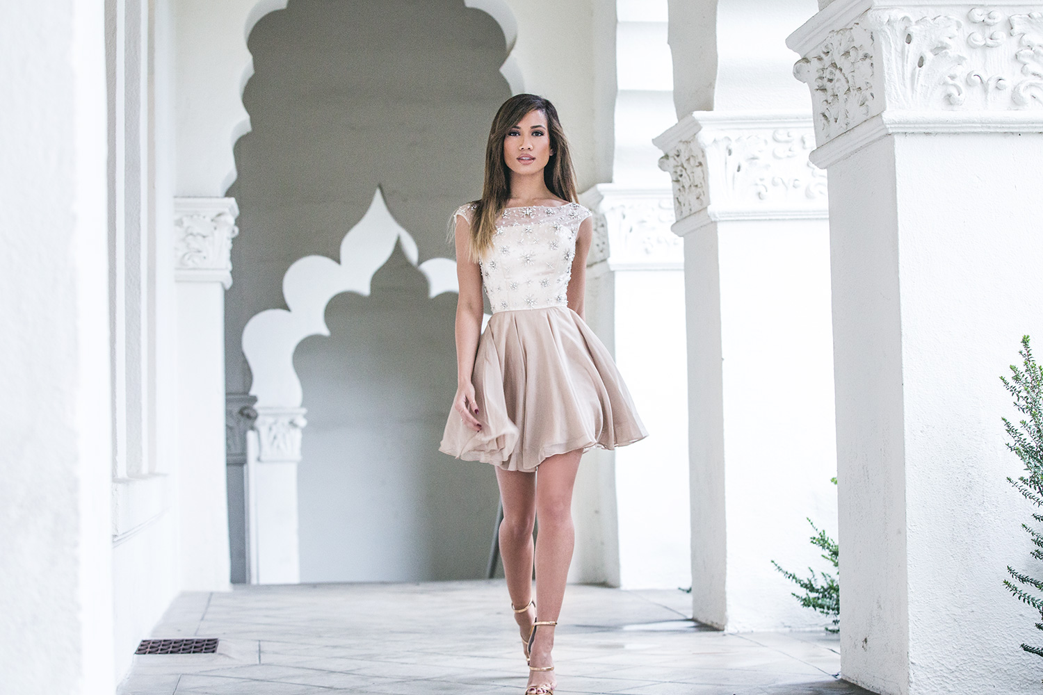 Jessi Malay wearing Glam Union Avelina Dress