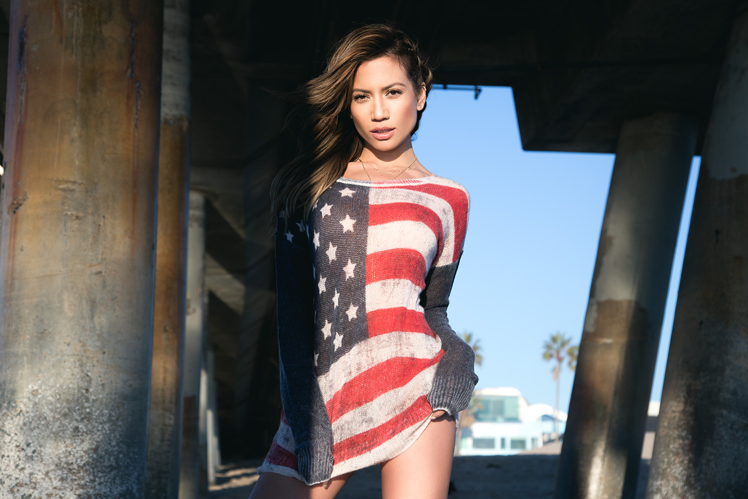 Jessi Malay wearing 360 Cashmere Sweater at Venice Beach