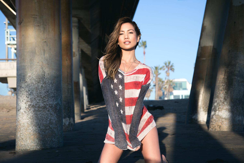Jessi Malay wearing 360 Cashmere Sweater at Venice Beach