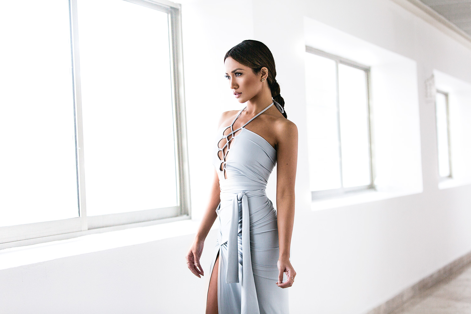 SCK Muse Wrap Gown - Sky Silver