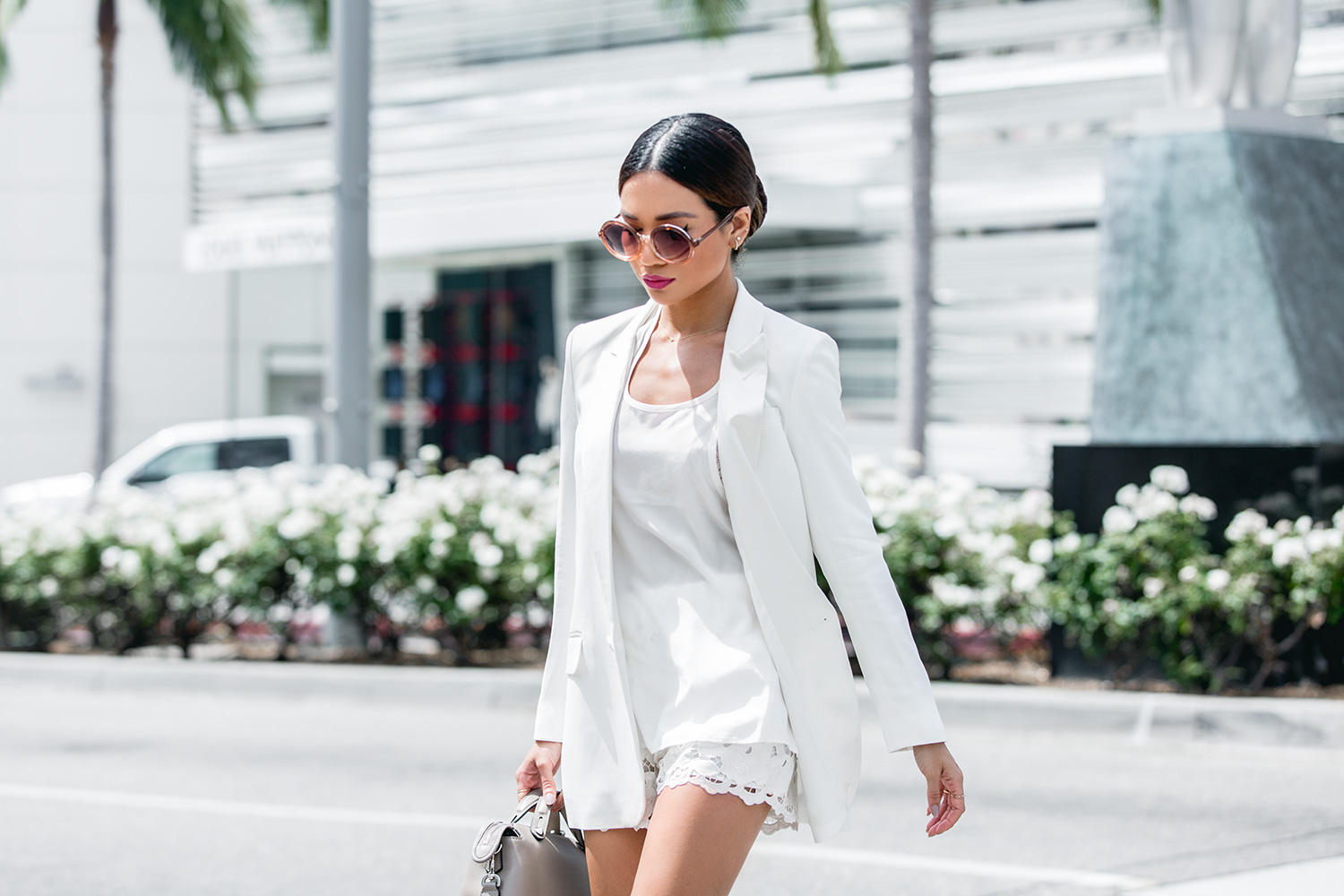 Jessi Malay wearing Express Edition Collection White Blazer_MG_0664