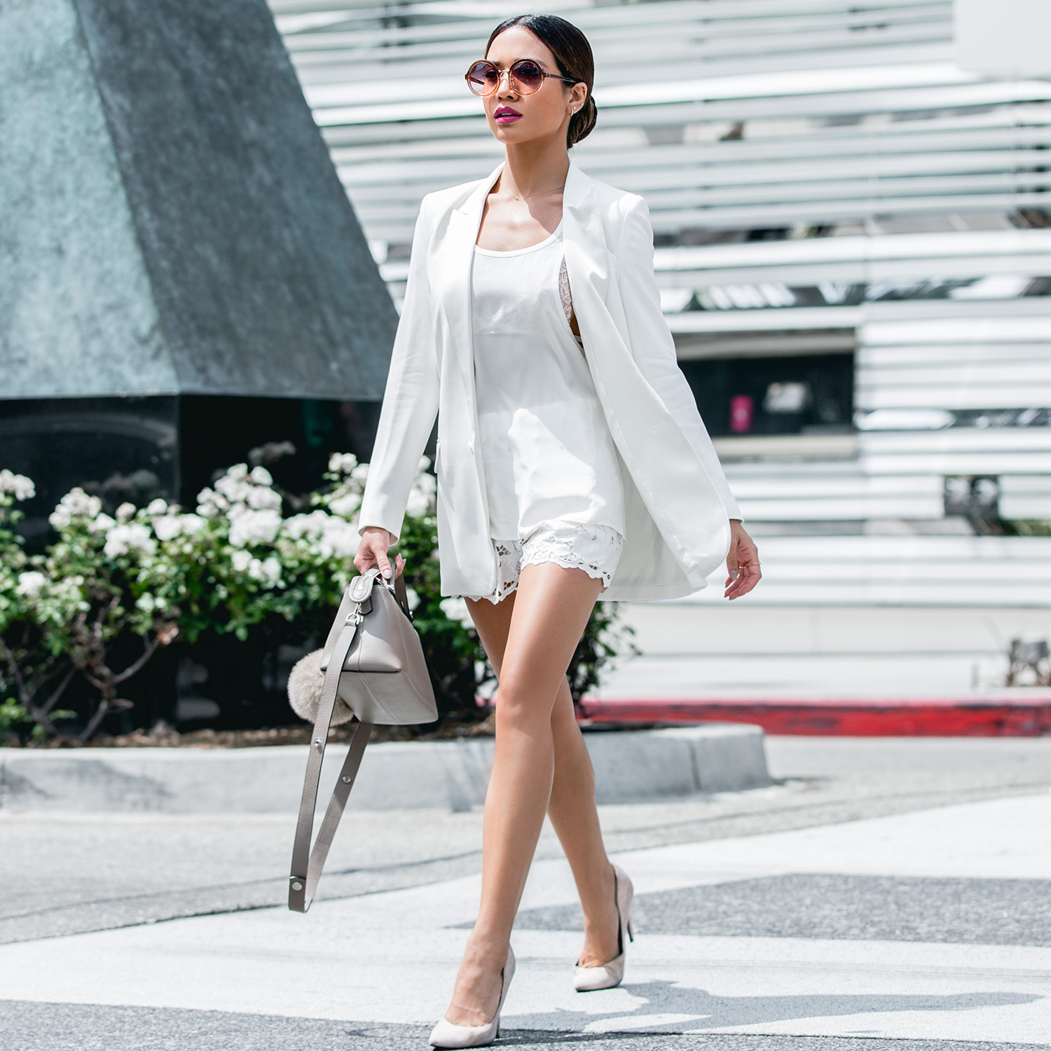 Jessi Malay wearing Express Edition Collection White Blazer_MG_0676