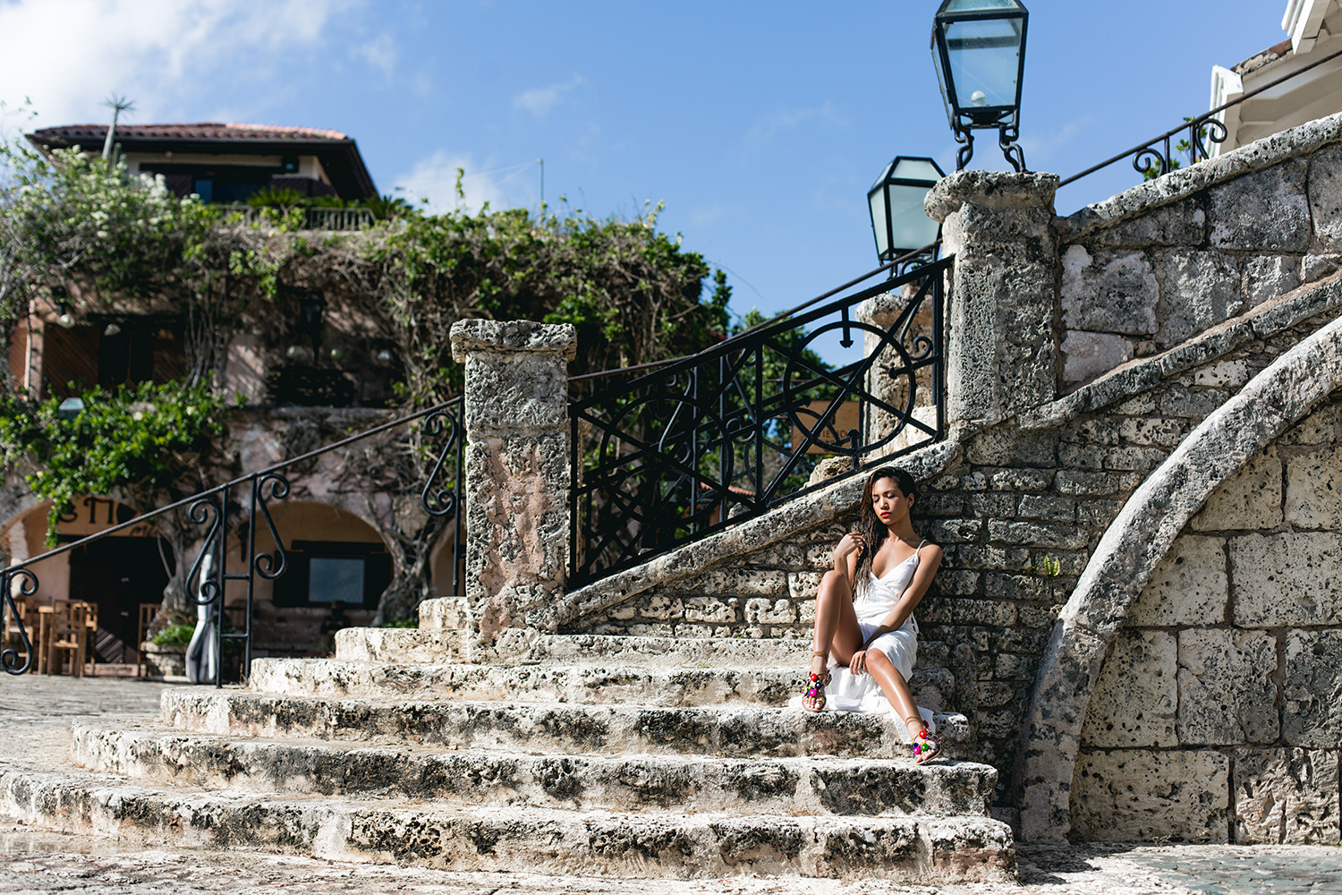 Jessi Malay wearing Flynn Skye White Wrap Dress at Altos De Chavon Dominican Republic_MG_2425