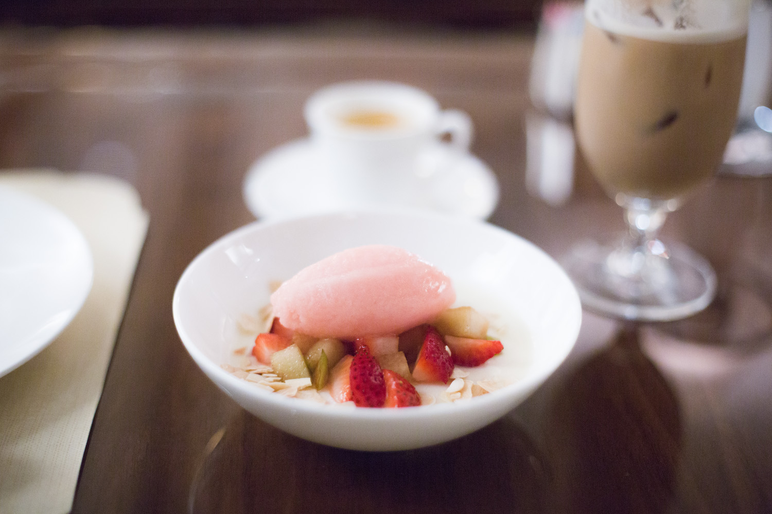 Blanc Manger with Almond milk, plums, strawberry, watermelon sorbet