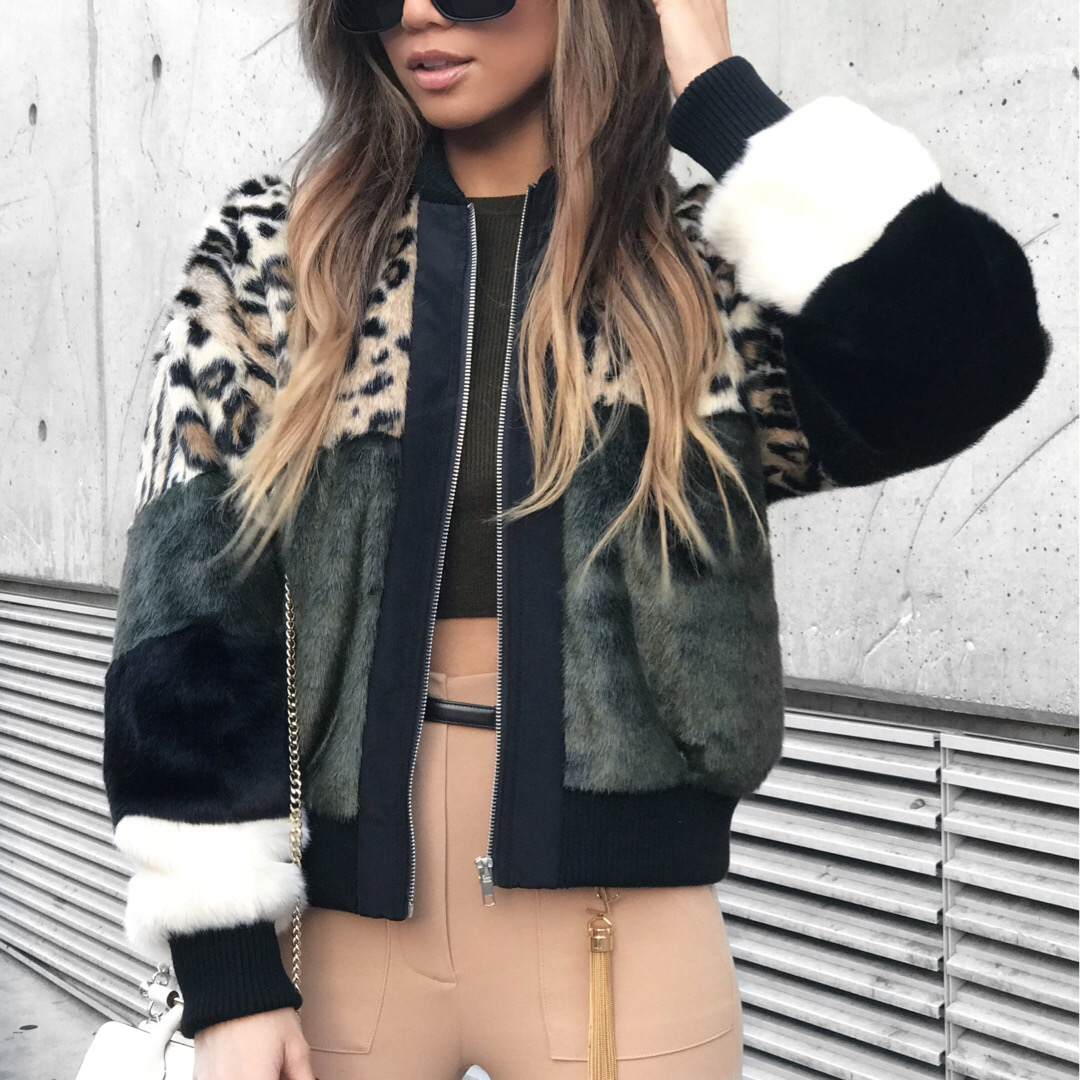Jessi Malay wearing NBD x Revolve Faux Fur Bomber Jacket