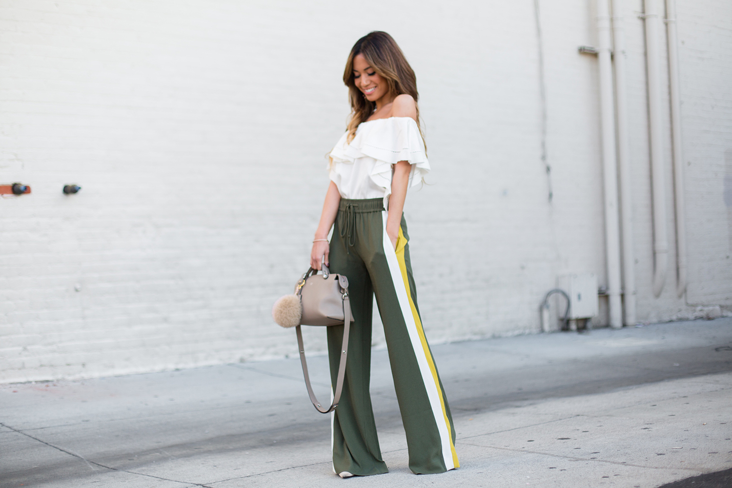 Jessi Malay wearing Wayf Jogger Pants