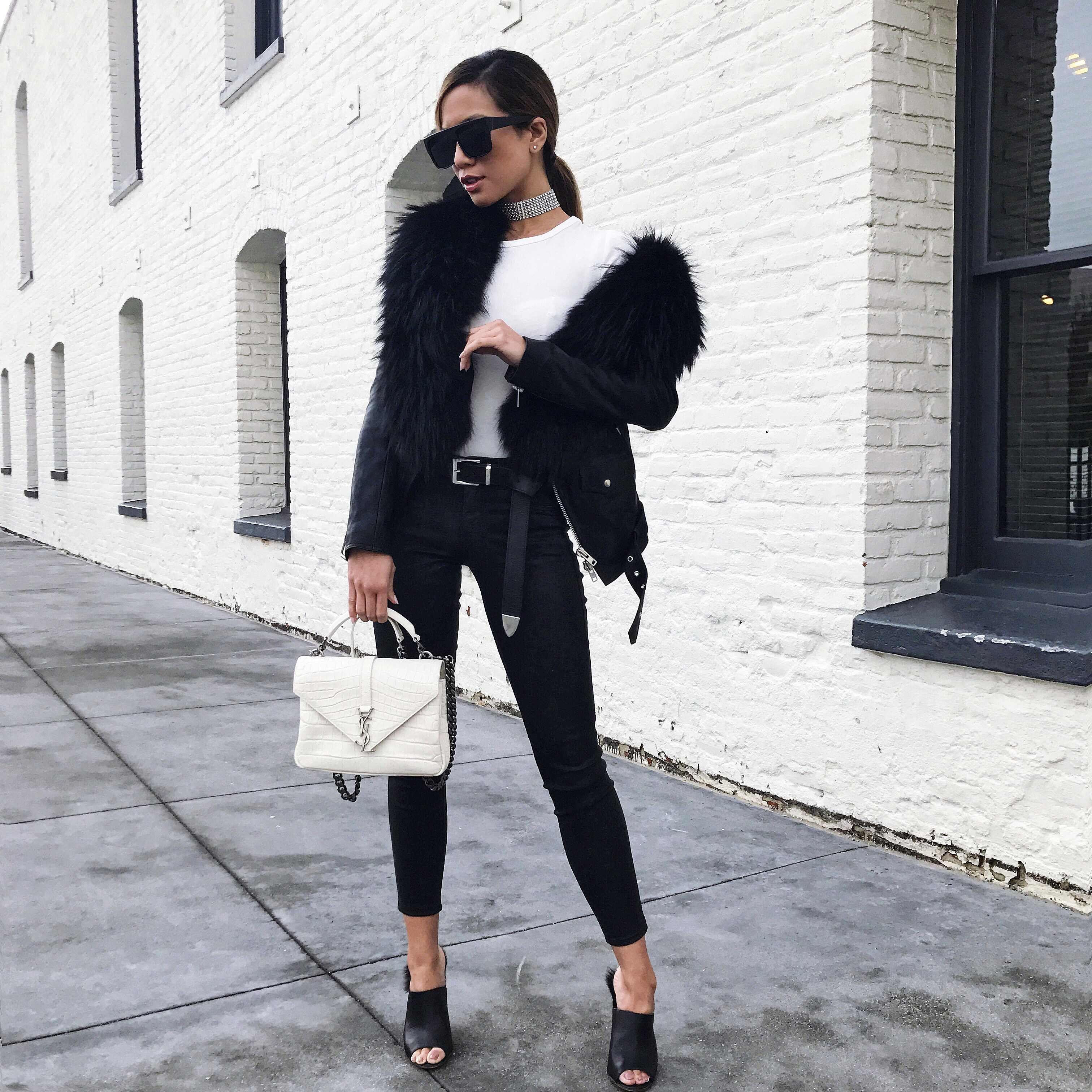 Jessi Malay wearing YSL bag and Faith Connexion Jacket