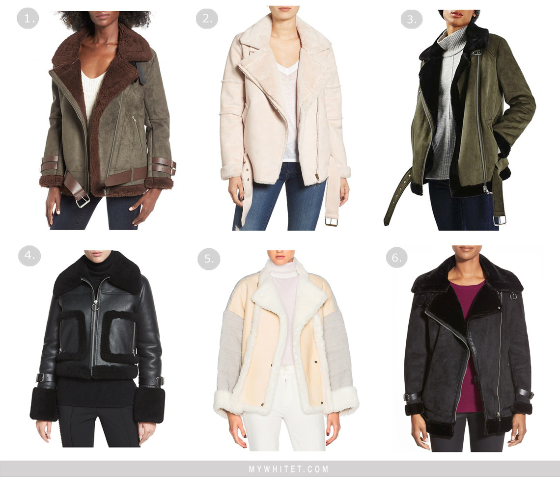 Shearling moto jackets at every price point