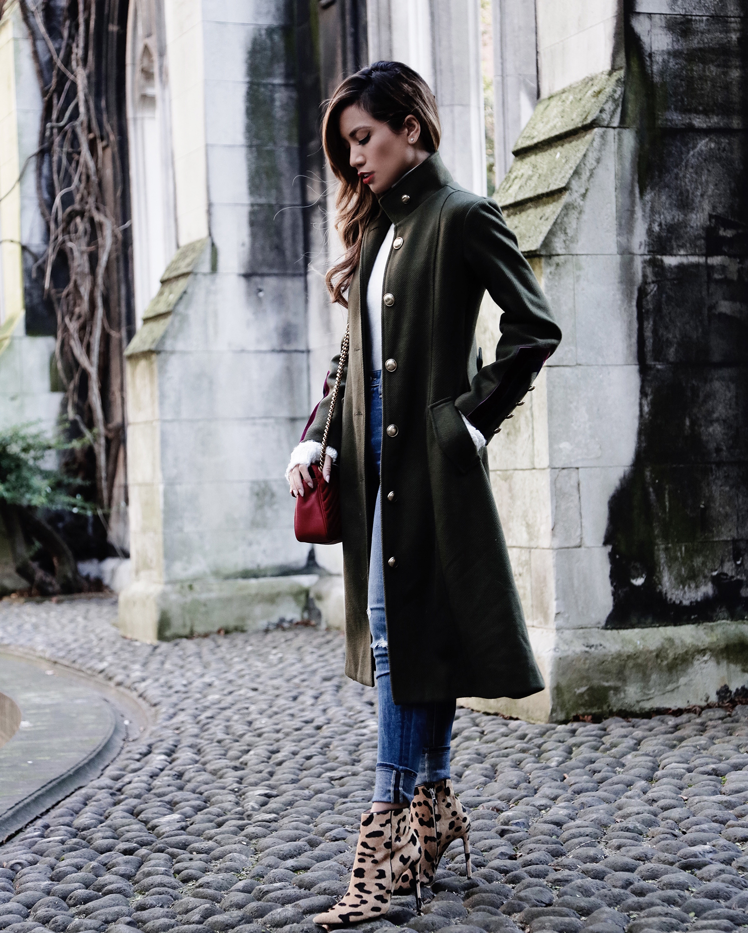 Jessi Malay wearing Storets Military Coat