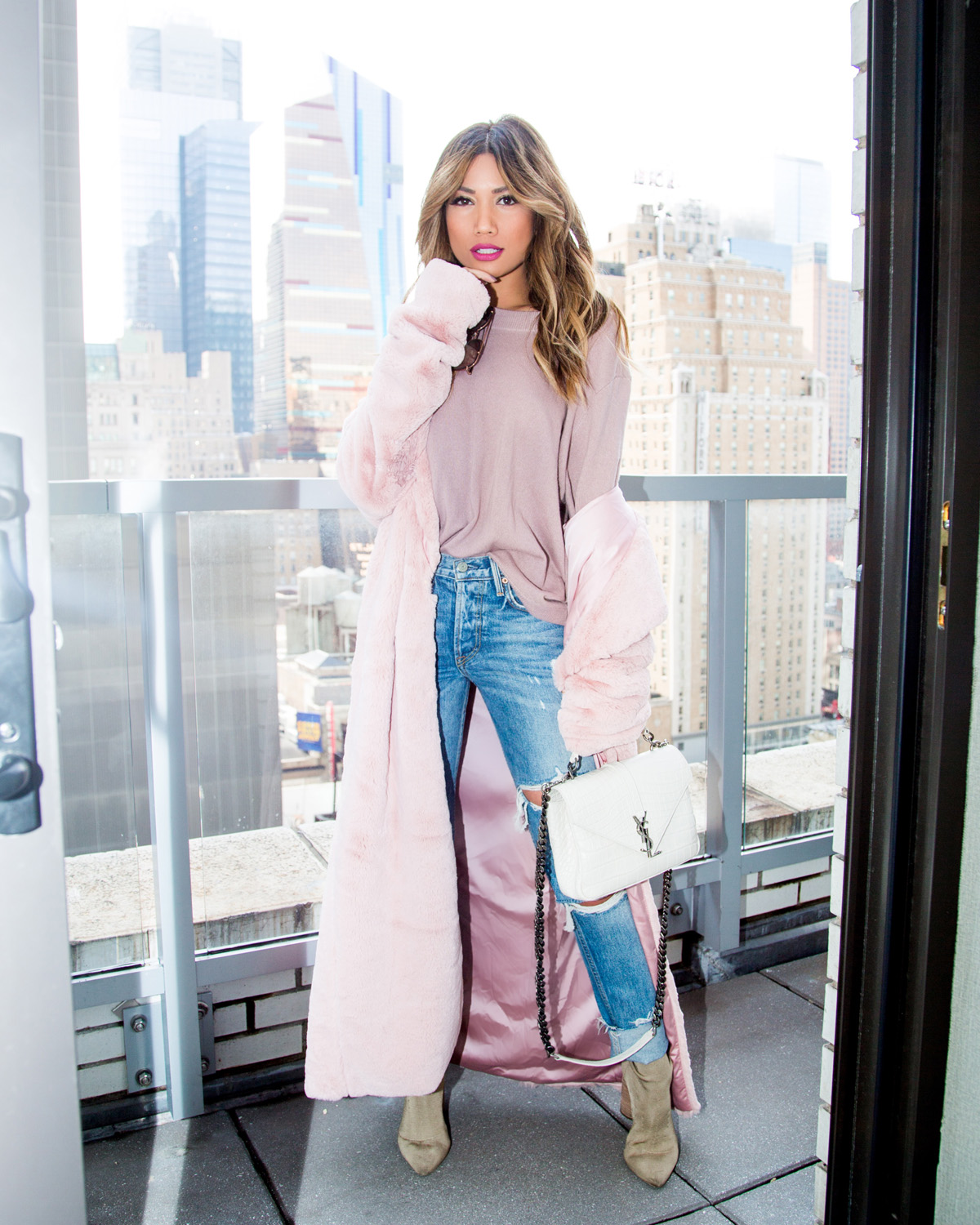 Jessi Malay wearing House of CB Faux Fur Coat