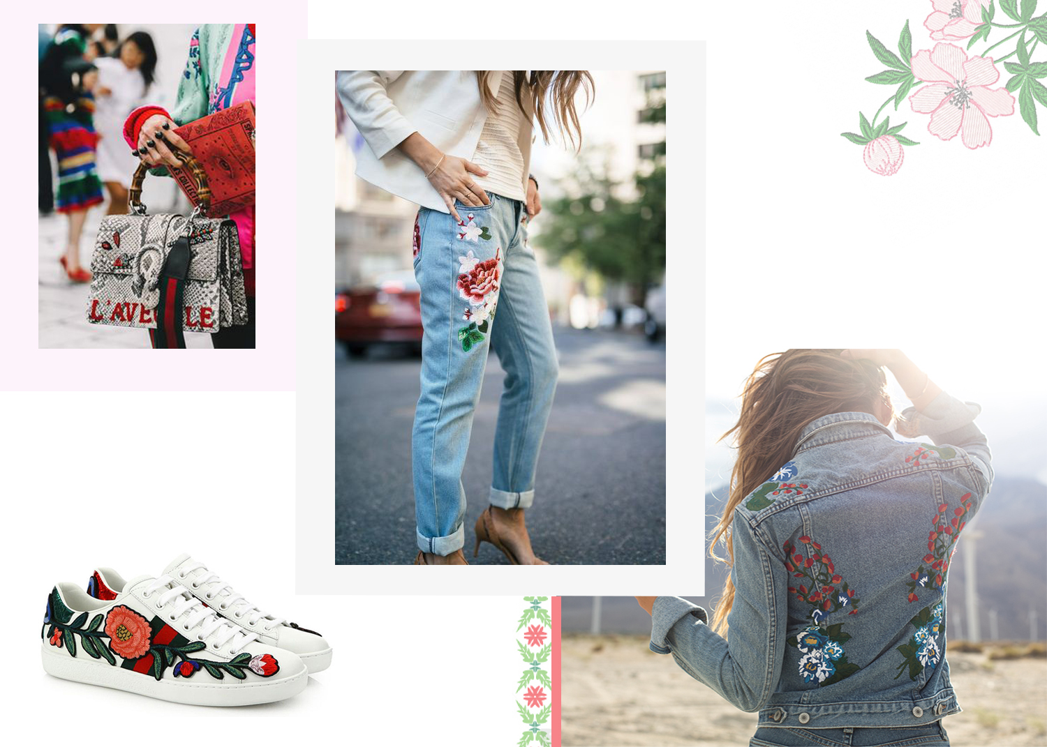 Floral embroidery trend for spring