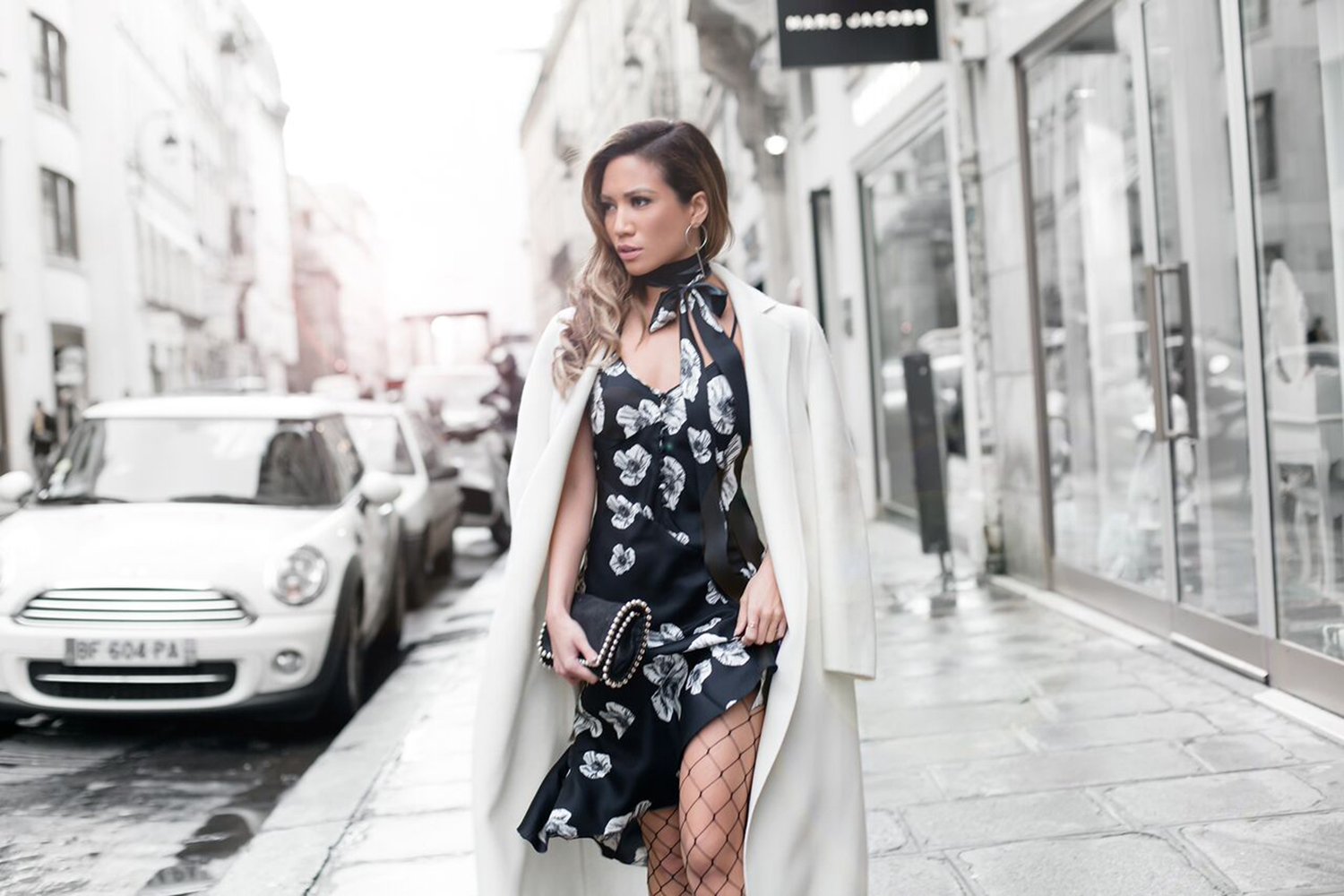 Jessi Malay wearing Galliano at Paris Fashion Week