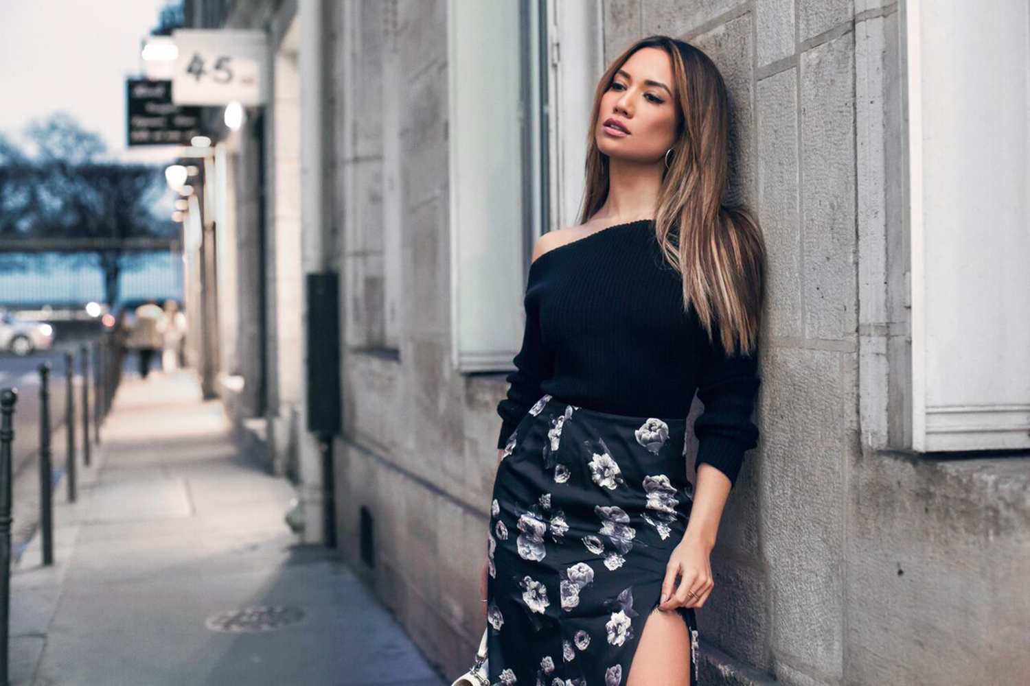 Jessi Malay wearing Majorelle Sweater at Paris Fashion Week
